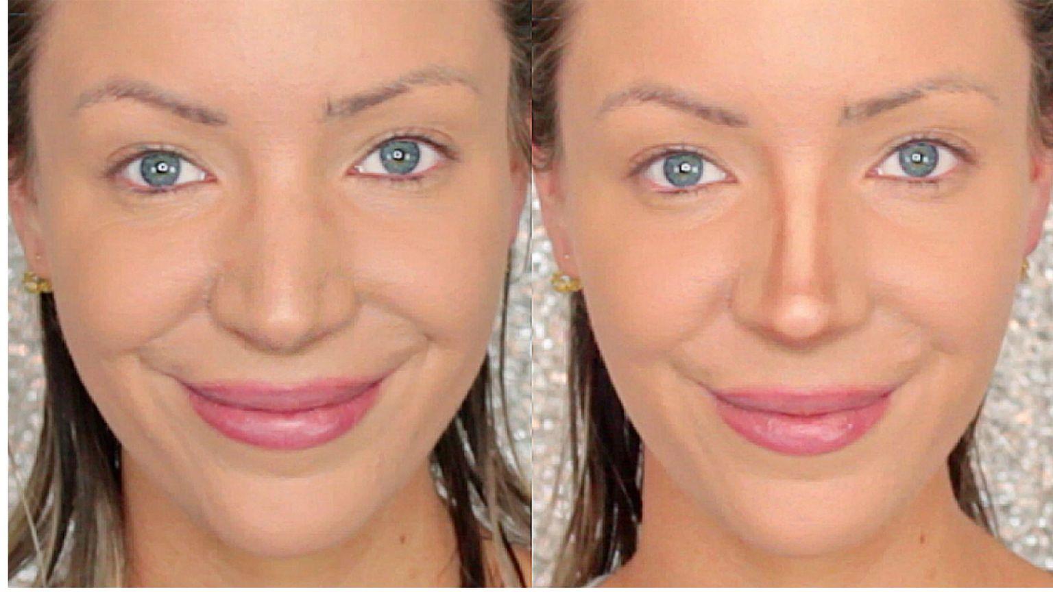 Длинный нос фото уменьшить с помощью макияжа